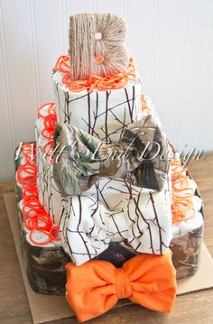 Hunting Camo Baby Boy 3-tier Square Diaper Cake by WittsEndDesign