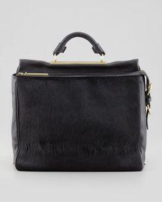 Ryder Calf Hair Crossbody Satchel Bag, Black by 3.1 Phillip Lim at Neiman Marcus.Price match philip lim site? http://www.31philliplim.com/shop/sale-womens/bags#ryder-satchel-black