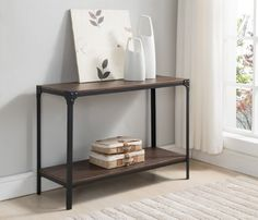 Kings Brand Antique Finish Entryway Console Sofa Table Black / Walnut