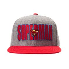 Represent your favorite superhero with the Superman Verbiage Cap. Put a cap on your superhero style with the Superman Cap, sporting front embroidered text with logo patch, contrasting bill with action graphics on reverse, and plastic snap-back closure for an adjustable fit with embroidered Superman logo on the back. Available for shipment in October; Available only at Journeys!