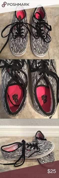 Vans Shoes Vans Shoes: -Black, White, Hot Pink -Size: 8.5 -Zebra Print -Not the original shoe laces -Only wore twice, in perfect condition!  Any questions, just ask!!  ***MAKE AN OFFER!!*** Vans Shoes Sneakers