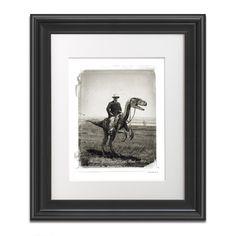 Teddy Roosevelt Riding a Velociraptor at Raptor Ranch, 1903 - MPAH003. $24.95, via Etsy.