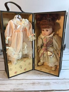"""Vintage Porcelain 12"""" Doll 3 Outfits Wardrobe Wood Carrying Case  