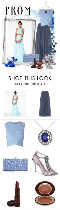 """Prom Night Blue Dress"" by tia2 on Polyvore featuring Needle & Thread, Miss Selfridge, Allurez, Jimmy Choo, Ted Baker, Fashion Fair and Charlotte Tilbury"