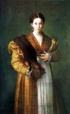 Portrait of a young woman,1530 by Parmigianino  In the XVth century a curious fur garment became popular.The zibellino was made either of a whole skinned sable or a marten and was worn around the neck,the waist or it was simply held in the hand.The animal's face was made by a goldsmith with jewels for eyes and ears and paws hung with pearls.The main purpose is debated today but it's been thought that it acted as a distraction for fleas and kept them away from the body