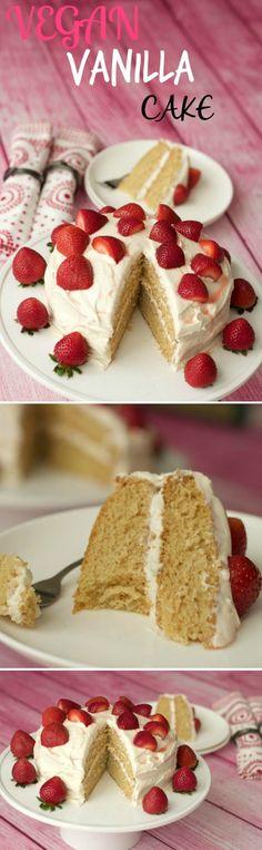Light fluffy and delicious vegan vanilla cake! Two layers of vanilla sponge, topped with a velvety vegan vanilla frosting and fresh strawberries. Ideal for special occasions. Vegan | Vegan Cakes | Vegan Desserts | Vegan Food | Vegan Recipes #vegan #vegancakes | lovingitvegan.com