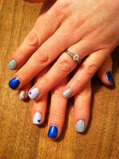 Blue, sparkles, hearts