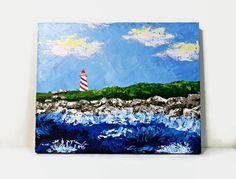 Lighthouse  Original Acrylic Painting  16X20  by NatkOriginalArt