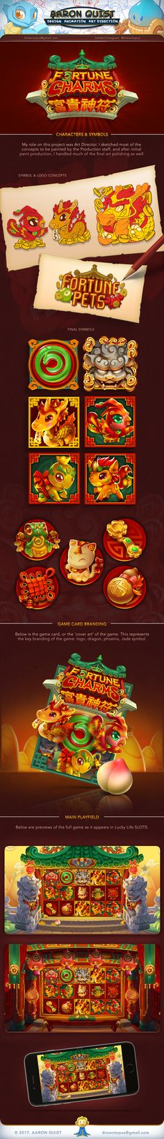 """ArtStation - """"Fortune Charms"""" Slot Game for Lucky Life SLOTS, Aaron Quist"""