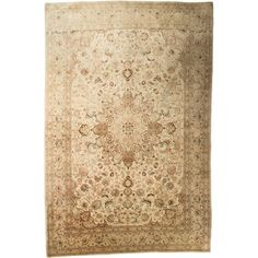 Pre-owned Persian Rug (8,250 SAR) ❤ liked on Polyvore featuring home, rugs, neutrals, floral area rugs, persian style area rugs, persian style rugs, neutral rugs and persian rugs