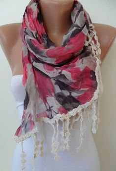 Pink and Grey Scarf  with Beige Trim Edge  New by SwedishShop, $19.90