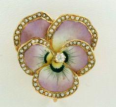 154: 14K Yellow Gold & Enamel Pansy Watch Pin w/ Diam : Lot 154