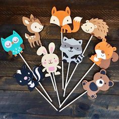 Woodland animal baby shower centerpiece, animals on sticks for cake topper or centerpiece, woodland