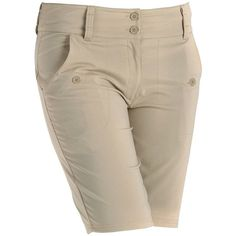 Women's Nancy Lopez Charming Golf Bermuda Shorts ($85) ❤ liked on Polyvore featuring khaki and plus size