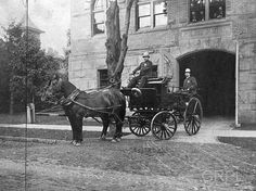 The police wagon, drawn by two horses, leaves the Ottawa Ave. entrance of the Police Stateion with two officers on board. The driver sits on the front bench seat while his partner rides at the back. Both wear the high rounded helmets typical of the period Old Photos, Vintage Photos, Police Cars, Police Vehicles, Horse Wagon, Grand Rapids Michigan, Two Horses, Rolling Stock, Police Station