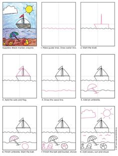 Beach Drawing - Art Projects for Kids Art Drawings For Kids, Drawing For Kids, Painting For Kids, Animal Drawings, Easy Drawings, Art For Kids, Drawing Lessons, Art Lessons, Beach Drawing