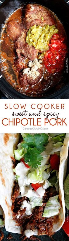 You've never had sweet pulled pork like this! Layers of spices, salsa, enchilada sauce and green chilies - melt in your mouth tender and perfect for tacos, salads, burrito bowls, etc. Perfect to make ahead for meals or for crowds and super simple! (Slow Cooker Recipes Chili)