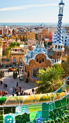 Barcelona Spain Gaudi Park - Park Guell is one of the most impressive public parks in the world. The park is located in Barcelona and was designed by famous architect Antonio Gaudi. Places Around The World, Oh The Places You'll Go, Travel Around The World, Places To Travel, Places To Visit, Travel Destinations, Travel Tips, Dream Vacations, Vacation Spots