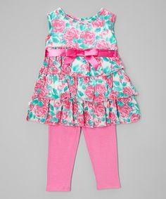 Real Love Pink Floral Tiered Dress & Leggings - Infant & Toddler | zulily