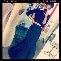 ball skirt, crop top.