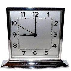 1930s Art Deco Chrome Clock | From a unique collection of antique and modern clocks at https://www.1stdibs.com/furniture/decorative-objects/clocks/