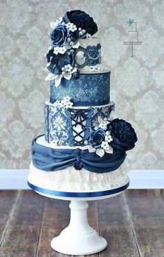 Blue wedding cake idea; Featured: Sweetlake Cakes