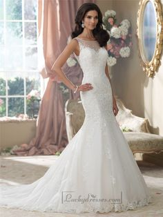 Embroidered V-back Mermaid Wedding Dresses Features Illusion Bateau Neckline Sale On LuckyDresses.com With Top Quality And Discount
