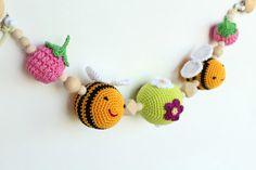 Bees & raspberries pram garland, stroller toy, chain for pram, organic rattle, pram decoration, Stroller mobile, string toy, hanging toy by LanaCrocheting on Etsy https://www.etsy.com/listing/466129720/bees-raspberries-pram-garland-stroller