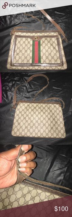 Vintage Gucci shoulder bag Decent condition needs restitching on strap as shown in various sections on strap quick fix Gucci Bags Shoulder Bags