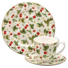 Strawberry Chintz Bone China Tea Cup & Saucer Set