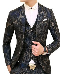 This stylish grey/navy blue blazer boasts a grunge design that's trendy and new!