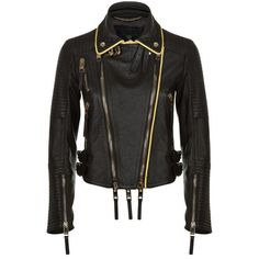 Burberry London Regimental-Trimmed Lambskin Biker Jacket ($3,665) ❤ liked on Polyvore featuring outerwear, jackets, lambskin leather jacket, military jacket, motorcycle biker jacket, biker style jacket and biker jacket