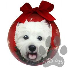 West Highland Terrier Westie Shatterproof Dog Breed Christmas Ornament http://doggystylegifts.com/collections/christmas-ball-ornaments/products/west-highland-terrier-westie-shatterproof-dog-breed-christmas-ornament