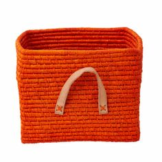 Small Square Basket with Leather Handles in Raffia Square Baskets, Orange Crush, Leather Handle, Tote Bag, Bags, Rice, Knit Basket, Hampers, Tejidos