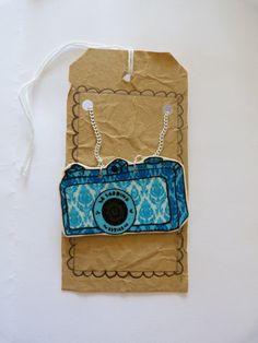 Vintage camera necklace - blue camera - shrink plastic pendant - hand illustrated. £11,00, via Etsy.