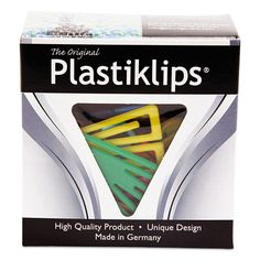 Plastiklips Paper Clips, Extra Large, Assorted Colors, 50/Box - Snap Supplies