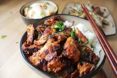 Dakgalbi spicy Korean chicken. Serve hot with rice and kimchi.