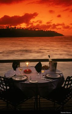Dinner at sunset in Fiji