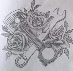 Piston & Roses tattoo