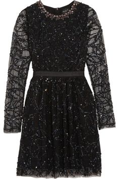 crystal and sequin mini dress / needle & thread