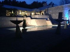 Blue Rock Estate at night. #bluerockestate #hillcountrywedding #weddingvenue #drippingsprings #texaswedding #uplight #dishevents #lighting #austinwedding #austinbride www.bluerockestate.com Dripping Springs, Texas Hill Country, Blues Rock, Spring Wedding, Natural Light, Wedding Venues, Cocktails, Patio, Lighting