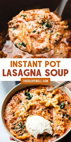 Instant Pot Lasagna Soup is the ultimate comfort food. Made with ground beef or . - Instant Pot Lasagna Soup is the ultimate comfort food. Made with ground beef or turkey and three di - Instant Pot Dinner Recipes, Easy Dinner Recipes, Baby Food Recipes, Beef Recipes, Great Recipes, Soup Recipes, Mince Recipes, Quiche Recipes, Best Dinner Recipes Ever