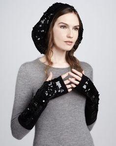Need to find a reasonably priced knockoff!! Sequined Oversize Beret & Fingerless Gloves by Rachel Zoe at Bergdorf Goodman.
