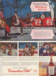 """Description: 1952 CANADIAN CLUB vintage print advertisement """"Horseback Archery""""-- You've got to be quick on the draw for Japan's Horseback Archery ... Rapid-fire target-shooting at full gallop has been the Japanese test of a samurai warrior's skill since the 12th century -- but even at a trot yabusame was almost too much for me -- Size: The dimensions of the full-page advertisement are approximately 10.5 inches x 14 inches (27cm x 36cm). Condition: This original vintage full-page…"""