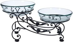 Benzara 68524 Glass Metal Double Bowl 23 Inches Wide