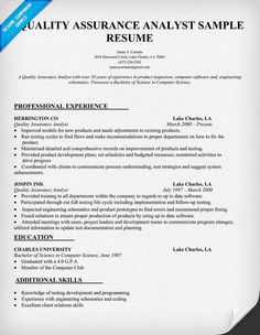 Sample Qa Specialist Resume,Sample Resume Resume Templates Quality ...