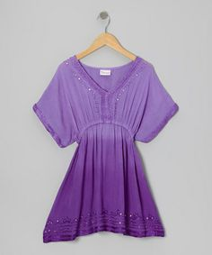 Take a look at this Purple Sequin Knit-Trim Dress - Toddler & Girls by India Boutique on #zulily today!
