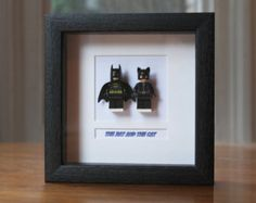 Superheroes Framed Mini Figures Batman & Catwoman made from Lego