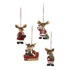 Set of 4 Santa Moose Ornaments - from Crate & Barrel