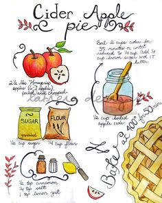 After a trip to the local apple orchard this fall season, I made this apple pie and it was hands-down the best Ive ever tasted! I enjoyed it so much I created an illustration of the recipe.    This print is available in either a 5x7 or 8x10 size. Please choose your selection by clicking Select a Size on the dropdown menu to your right.    Professionally printed on Somerset Velvet fine art paper, this art print is signed on the back and enclosed in a protective sleeve. The watermark will not…